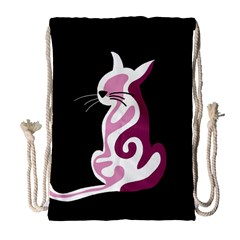 Pink abstract cat Drawstring Bag (Large)