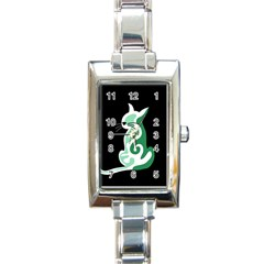 Green abstract cat  Rectangle Italian Charm Watch