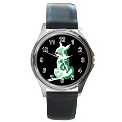 Green abstract cat  Round Metal Watch