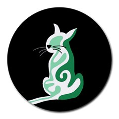 Green abstract cat  Round Mousepads