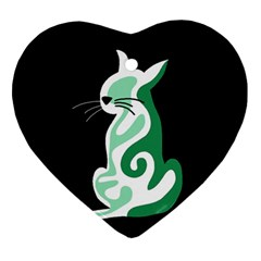 Green abstract cat  Ornament (Heart)