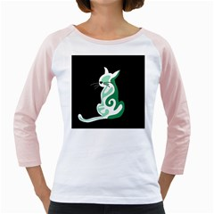 Green abstract cat  Girly Raglans