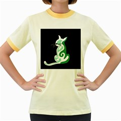 Green abstract cat  Women s Fitted Ringer T-Shirts