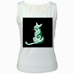 Green abstract cat  Women s White Tank Top