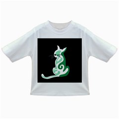 Green abstract cat  Infant/Toddler T-Shirts