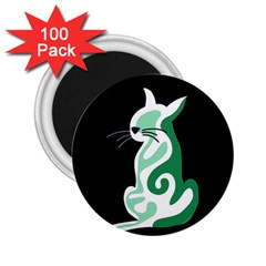 Green abstract cat  2.25  Magnets (100 pack)