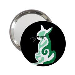 Green abstract cat  2.25  Handbag Mirrors