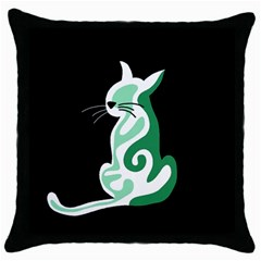 Green abstract cat  Throw Pillow Case (Black)