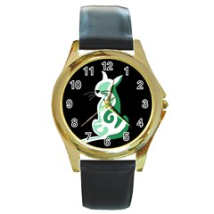 Green abstract cat  Round Gold Metal Watch