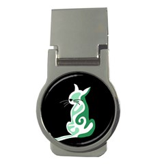 Green abstract cat  Money Clips (Round)