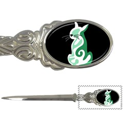 Green abstract cat  Letter Openers