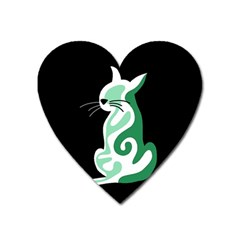 Green abstract cat  Heart Magnet