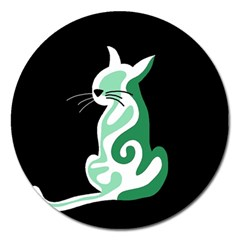 Green abstract cat  Magnet 5  (Round)