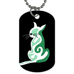 Green abstract cat  Dog Tag (One Side)