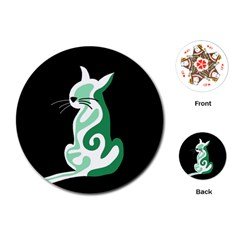 Green abstract cat  Playing Cards (Round)