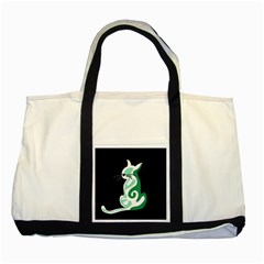 Green abstract cat  Two Tone Tote Bag