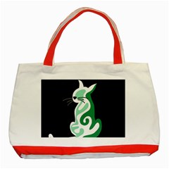 Green abstract cat  Classic Tote Bag (Red)