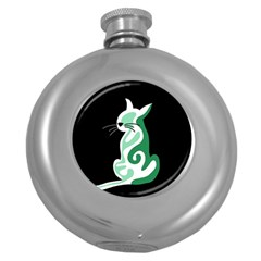 Green abstract cat  Round Hip Flask (5 oz)