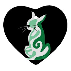 Green abstract cat  Heart Ornament (2 Sides)