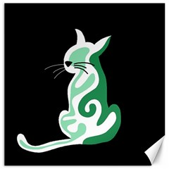 Green abstract cat  Canvas 12  x 12
