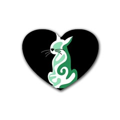 Green abstract cat  Rubber Coaster (Heart)