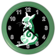 Green abstract cat  Color Wall Clocks