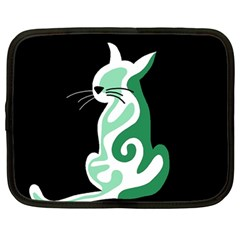 Green abstract cat  Netbook Case (Large)
