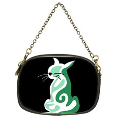 Green abstract cat  Chain Purses (Two Sides)