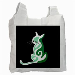 Green abstract cat  Recycle Bag (Two Side)