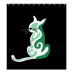 Green abstract cat  Shower Curtain 66  x 72  (Large)