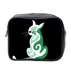 Green abstract cat  Mini Toiletries Bag 2-Side