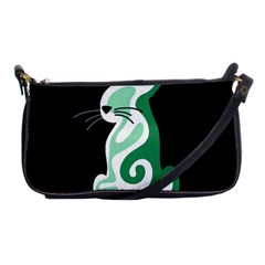 Green abstract cat  Shoulder Clutch Bags