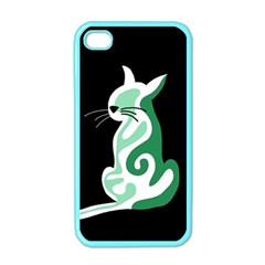 Green abstract cat  Apple iPhone 4 Case (Color)