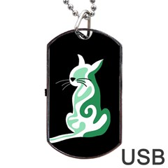 Green abstract cat  Dog Tag USB Flash (Two Sides)