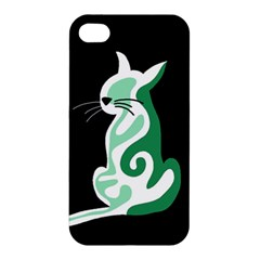 Green abstract cat  Apple iPhone 4/4S Hardshell Case