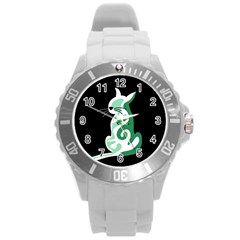 Green abstract cat  Round Plastic Sport Watch (L)