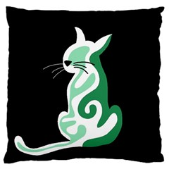 Green abstract cat  Large Cushion Case (Two Sides)