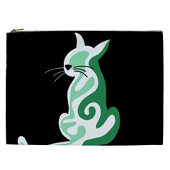 Green abstract cat  Cosmetic Bag (XXL)
