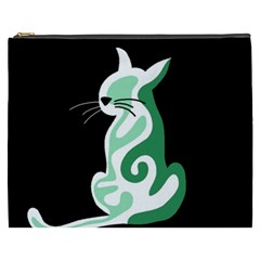 Green abstract cat  Cosmetic Bag (XXXL)