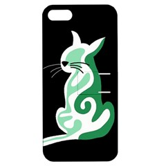 Green abstract cat  Apple iPhone 5 Hardshell Case with Stand