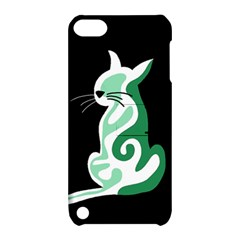 Green abstract cat  Apple iPod Touch 5 Hardshell Case with Stand