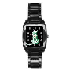 Green abstract cat  Stainless Steel Barrel Watch