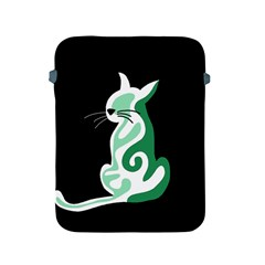 Green abstract cat  Apple iPad 2/3/4 Protective Soft Cases