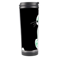 Green abstract cat  Travel Tumbler