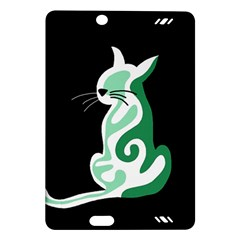 Green abstract cat  Amazon Kindle Fire HD (2013) Hardshell Case