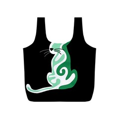 Green abstract cat  Full Print Recycle Bags (S)