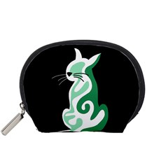 Green abstract cat  Accessory Pouches (Small)
