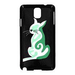 Green abstract cat  Samsung Galaxy Note 3 Neo Hardshell Case (Black)