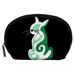 Green abstract cat  Accessory Pouches (Large)
