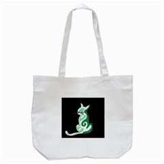 Green abstract cat  Tote Bag (White)
